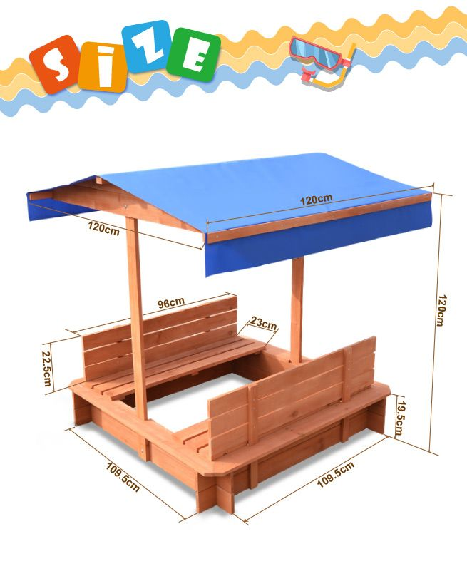 ... Outdoor Wooden Sandpit with Canopy  sc 1 st  CrazySales & Outdoor Wooden Sandpit with Canopy | Crazy Sales