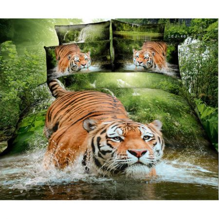 3D Bedding Quilt Doona Duvet Cover Bed Sheet Pillowcase Set - Tiger On A Lake