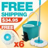 360 Degree Spin Mop & Spin Dry Bucket with 2 Mop Heads & 4 BONUS Heads