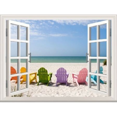Beach With Colour Chairs 3d Window View Removable Wall Art