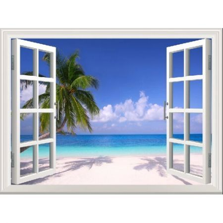 3d Palm Beach Window View Removable Wall Art Stickers