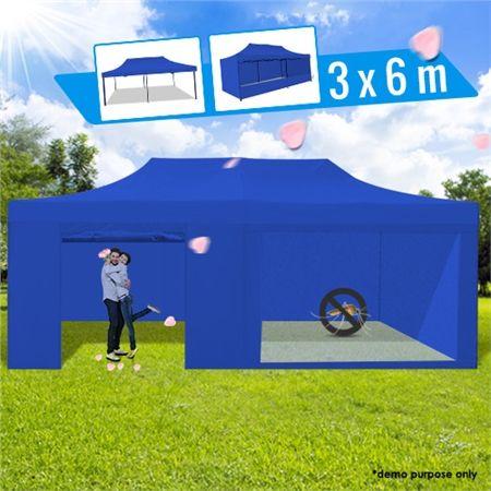 3 x 6 Metre Portable Outdoor Blue Pop Up Gazebo / Canopy & 3 x 6 Metre Portable Outdoor Blue Pop Up Gazebo / Canopy | Crazy Sales