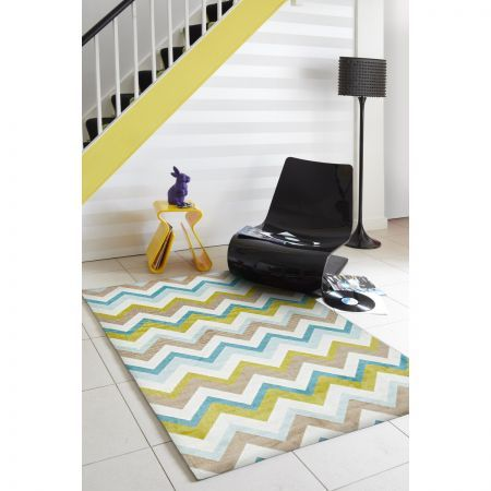 1.5 X 2.2 Metre Green/Brown/Cream 'Chevron' Designer Rug