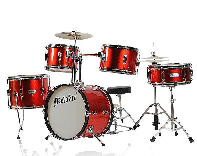 5 Piece Junior Drum Set With Cymbals Red Crazy Sales