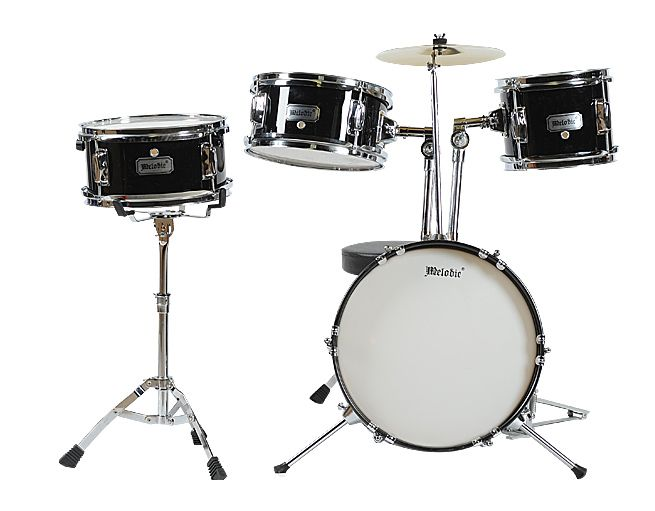 4 piece junior drum set with cymbals black crazy sales. Black Bedroom Furniture Sets. Home Design Ideas