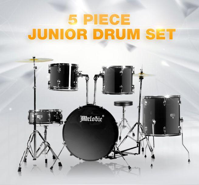 5 piece junior drum set with cymbals black crazy sales. Black Bedroom Furniture Sets. Home Design Ideas
