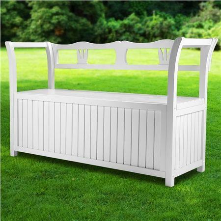 white wooden outdoor garden storage bench crazy sales. Black Bedroom Furniture Sets. Home Design Ideas