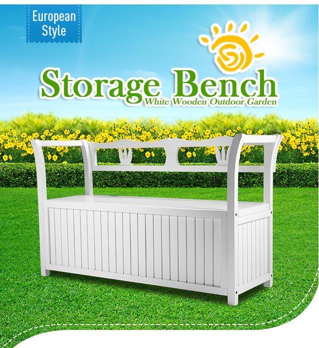 Garden Storage Bench Box Wood White Wooden 2 Seats Outdoor