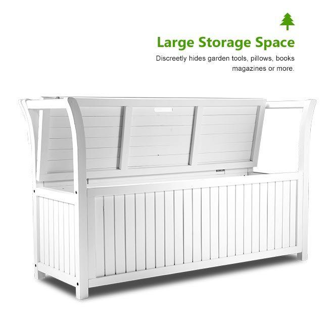 Garden Storage Bench Box Wood White Wooden 2 Seats Outdoor Patio Furniture Ebay