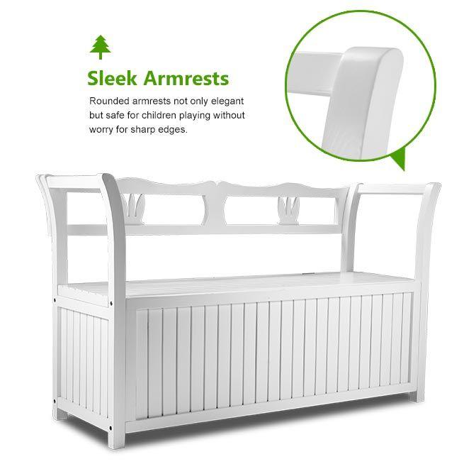 white wooden outdoor garden storage bench. Black Bedroom Furniture Sets. Home Design Ideas