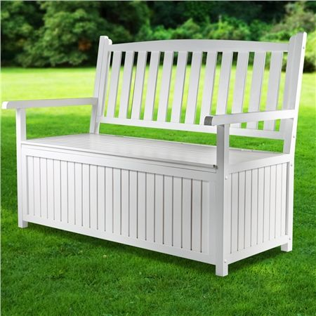 High Back White Wooden Outdoor Garden Storage Bench Crazy Sales