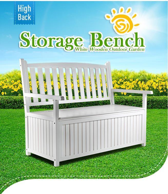 white wooden 2 seats garden storage bench outdoor patio. Black Bedroom Furniture Sets. Home Design Ideas