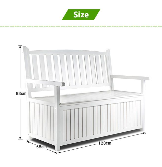 White Wooden 2 Seats Garden Storage Bench Outdoor Patio