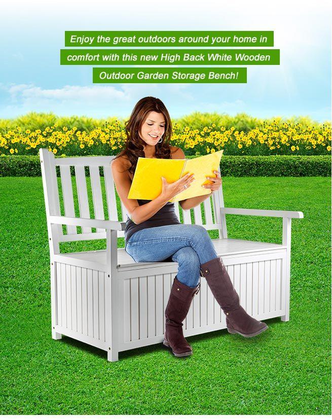 White Wooden 2 Seats Garden Storage Bench Outdoor Patio ...