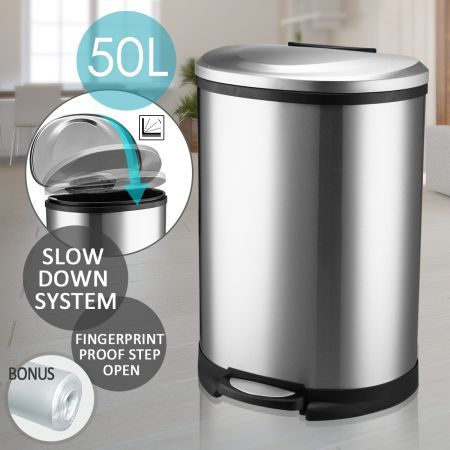 50L Stainless Steel Fingerprint Proof Step Garbage Bin