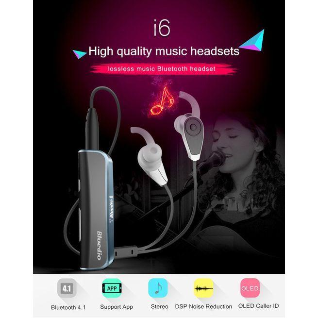 e03aaaa1ef4 ... Bluedio I6 Wireless Bluetooth 4.1 OLED Display Stereo Earphone Headsets  - Black ...