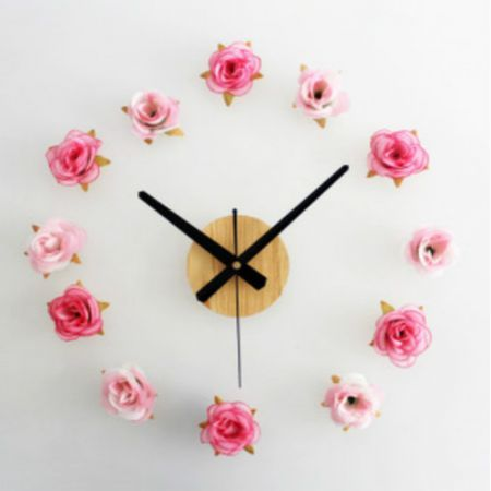 New DIY Wall Clock 12 Flowers Rose And Pink