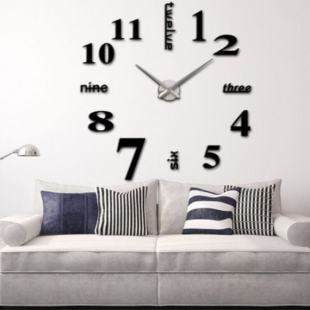Modern diy wall clock creative large watch decor stickers for 3d acrylic mirror wall sticker clock decoration decor