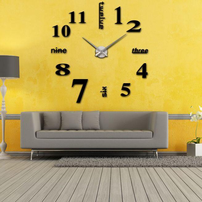 Modern DIY Wall Clock Creative Large Watch Decor Stickers Set Mirror ...
