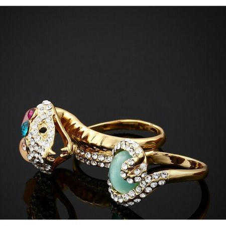 Retro Colorful Rhinestone Snake Ring