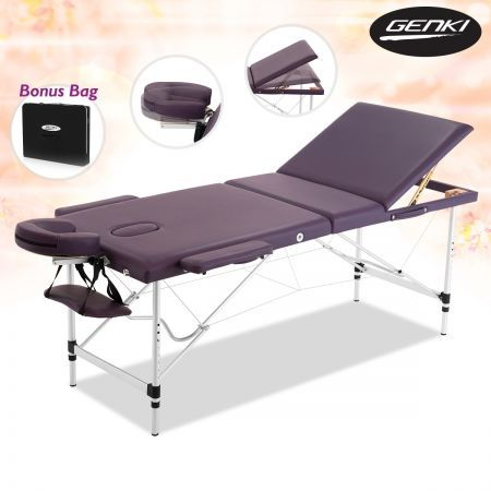 Genki Adjustable Foldable Massage Table with Carry Case-Violet