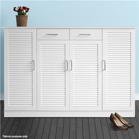 Extra Large White Wooden Shoe Cabinet Max.40 Pairs White Part 95