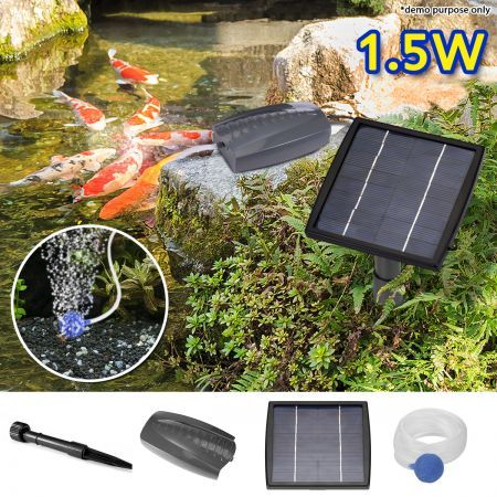 1.5W Solar Powered Air Pump for Pond Oxygenation