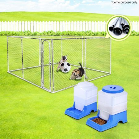 4m x 4m Kennel Run/Pet Enclosure and Pet Feeder and Water Dispenser Set