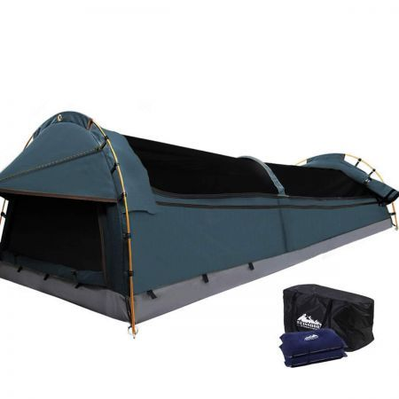 Double Canvas Camping Swag Tent Navy with Air Pillow
