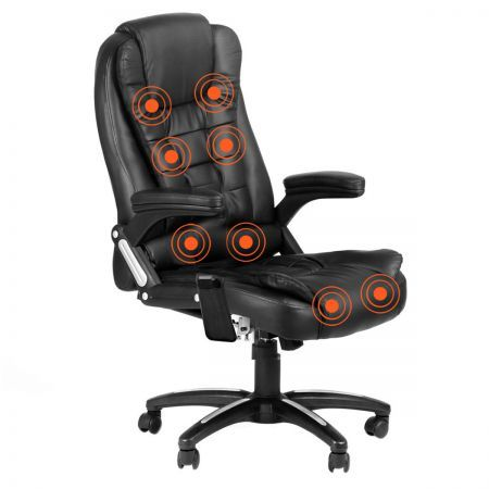 point massage executive pu leather office computer chair black