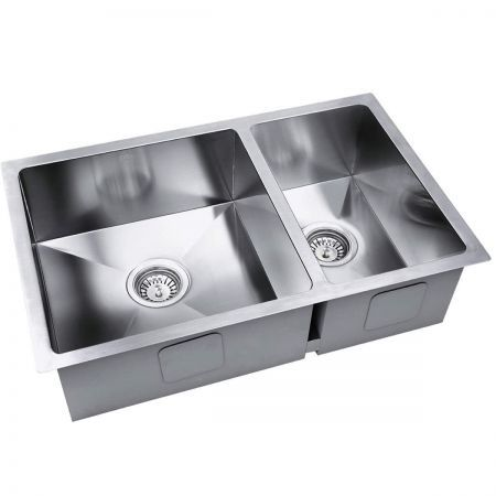 Stainless Steel Kitchen Laundry Sink with Strainer Waste 510 x 450 mm