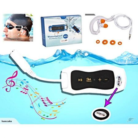 Waterproof MP3 Player with FM Radio 4GB - White