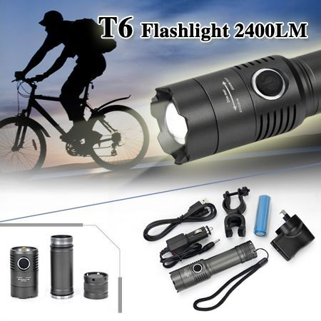 2400 Lumen CREE XM-L T6 LED Zoomable Flashlight Torch Lamp Light & 18650 Battery