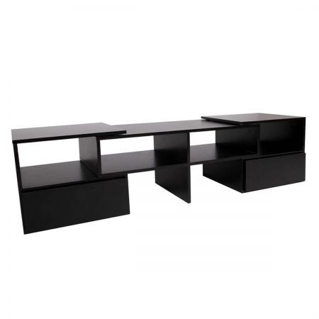 TV Stand Entertainment Unit Adjustable Cabinet - Black