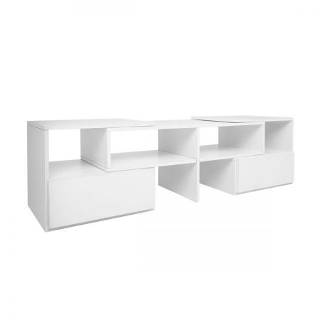 TV Stand Entertainment Unit Adjustable Cabinet - White