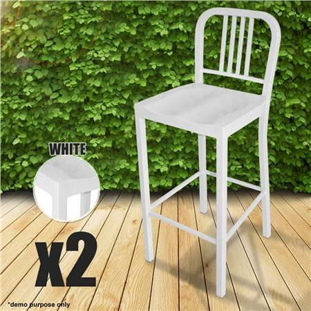 Set of Metal Navy High Bar Chairs-White
