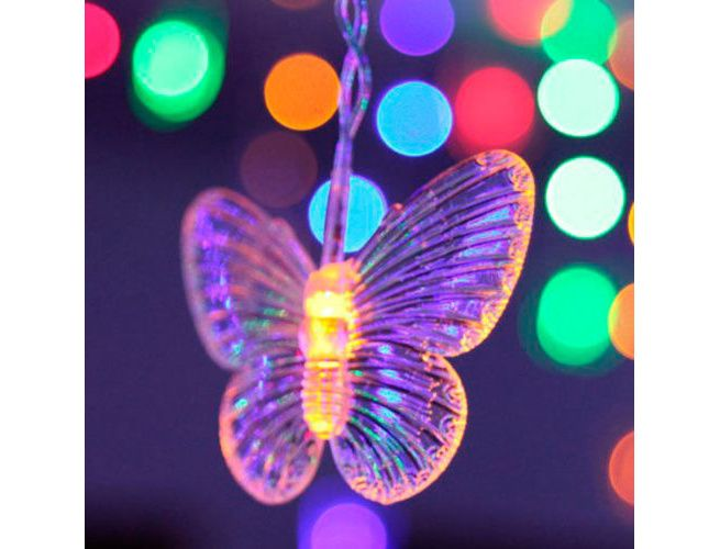 Purple 16 Butterfly 104 LED Curtain String Fairy Light 2x1m Xmas Party Crazy Sales