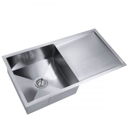 Stainless Steel Kitchen Laundry Sink with Strainer Waste 870x450mm ...