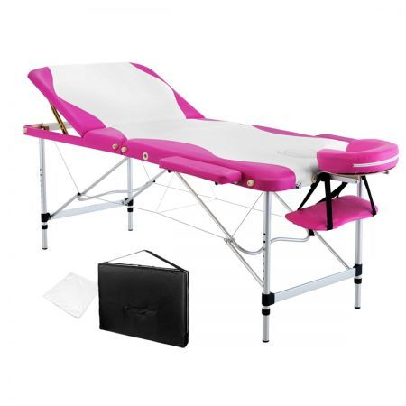 Portable Aluminium 3 Fold Massage Table Chair Bed White Pink 75cm Crazy S